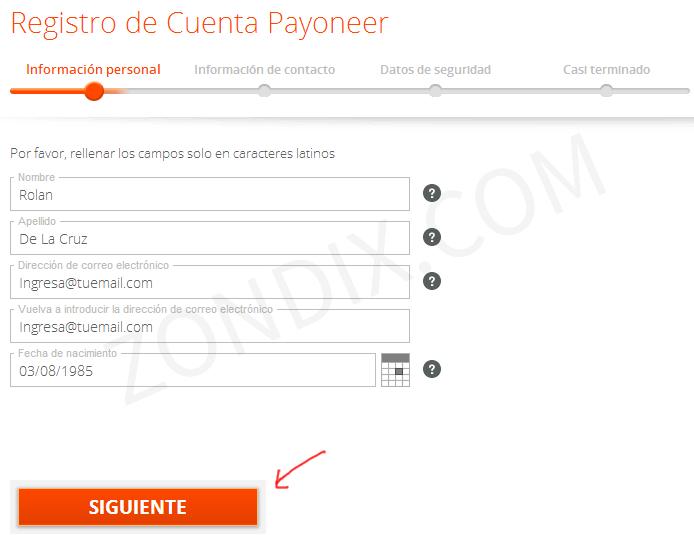 Primer paso para solicitar tarjeta payoneer