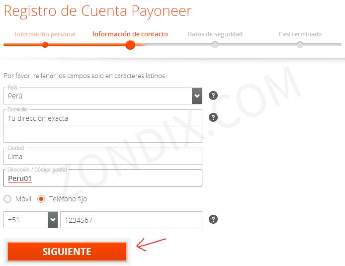 Registro de tarjeta Payoneer