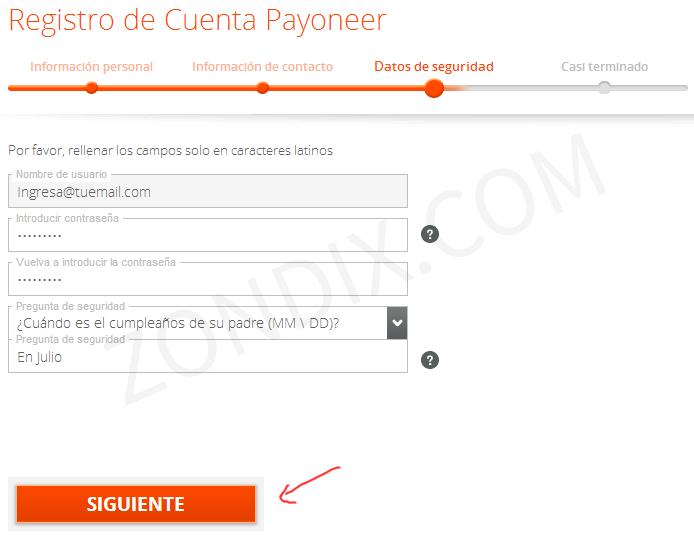 Registro de tarjeta Payoneer - Datos de seguridad