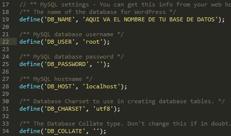 configuracion de wp-config wordpress en servidor local