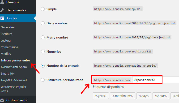 configurar enlaces permanentes wordpress