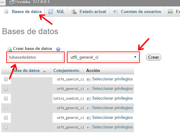 crear base de datos para wordpress en local con xampp