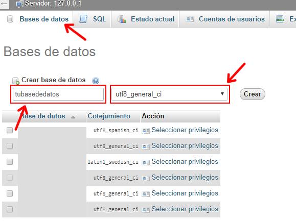 crear base de datos para wordpress en local con xampp