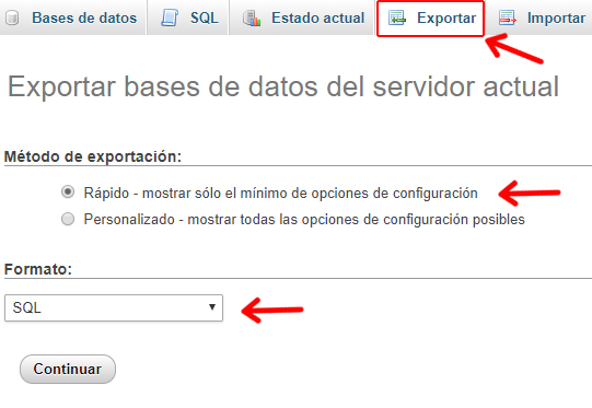 exportar base de datos de servidor hosting para wordpress en local