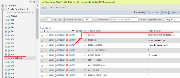 modificando wp-options wordpress en localhost